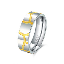 hot deal buy 2015 new arrived 925 sterling silver steel 18 k golden simple round with wave line rings for men's fine jewelry wedding jewelry