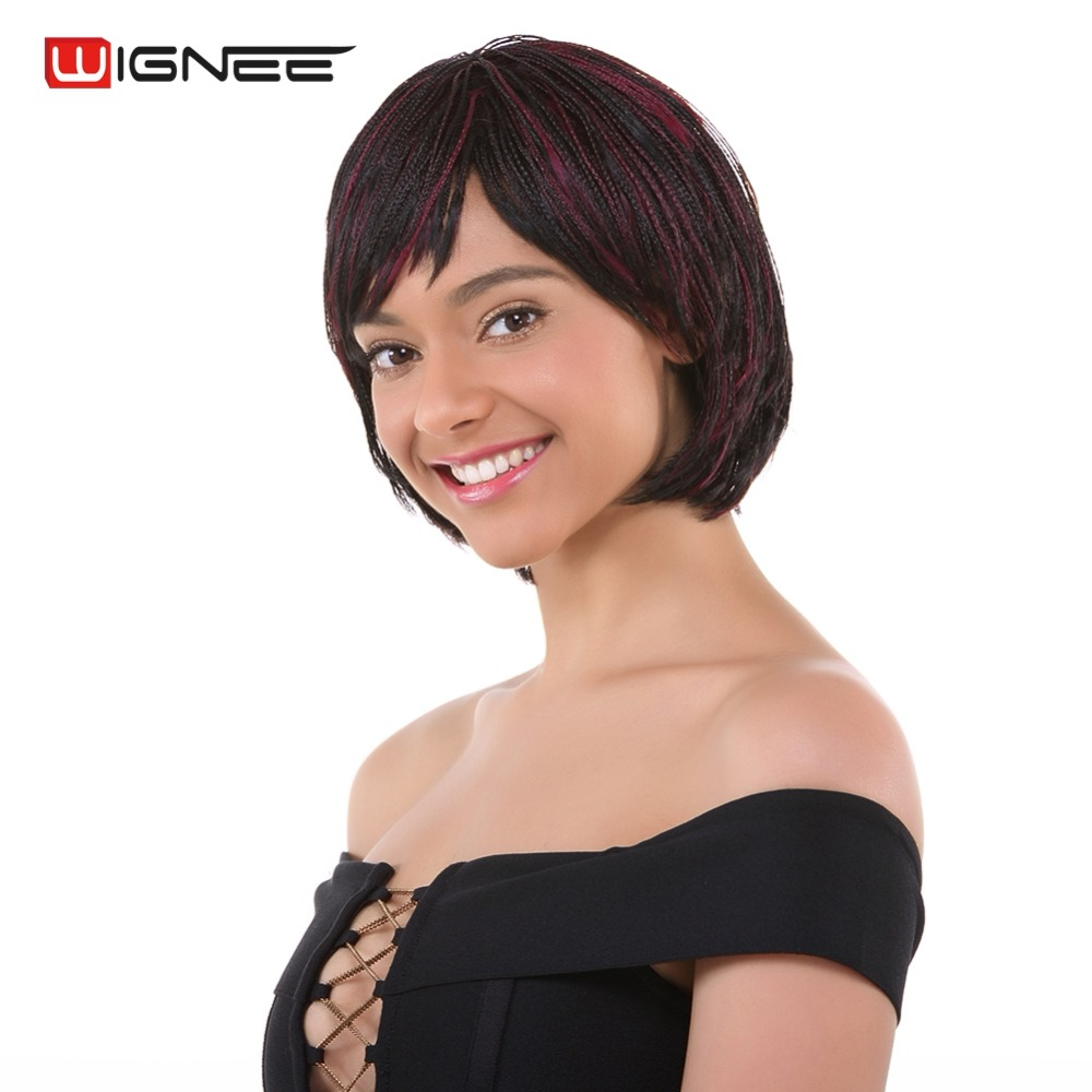 Wignee Mixed Color 1B BUG Braided Box Braids Wig With Bangs High Temperature Synthetic Women Wig Hand Tied Braids Cosplay Wig