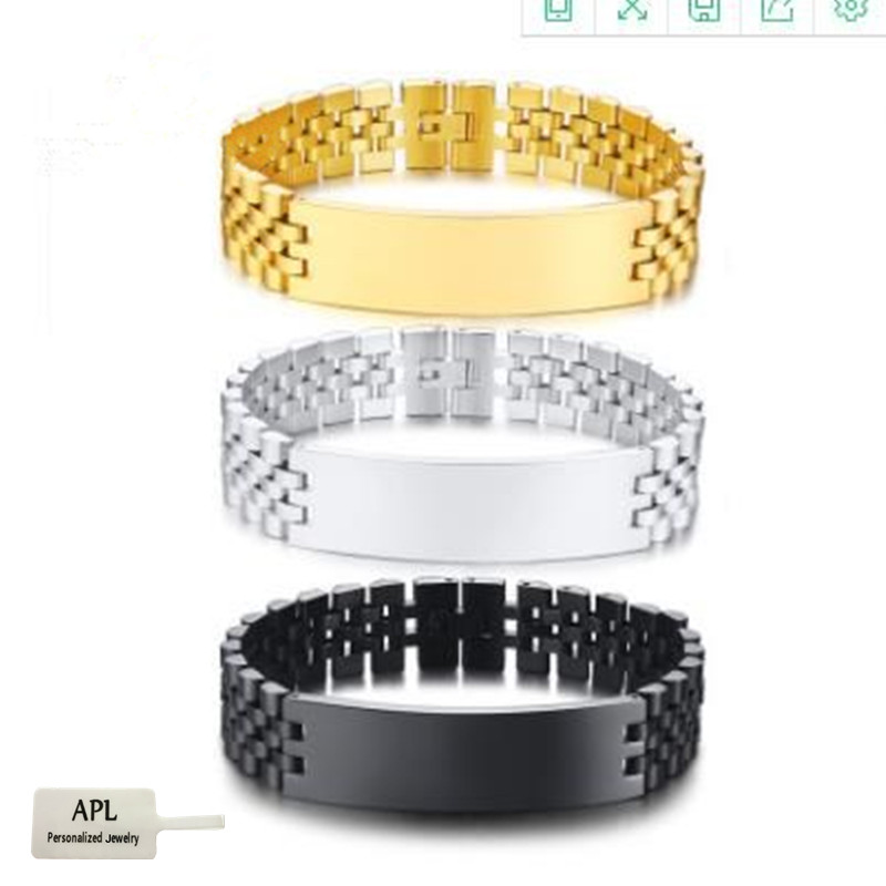 APL-Stainless Steel Bracelet Men's Customized Bracelet Valentine's Day Gift ID Label Multicolored Engraved Jewelry