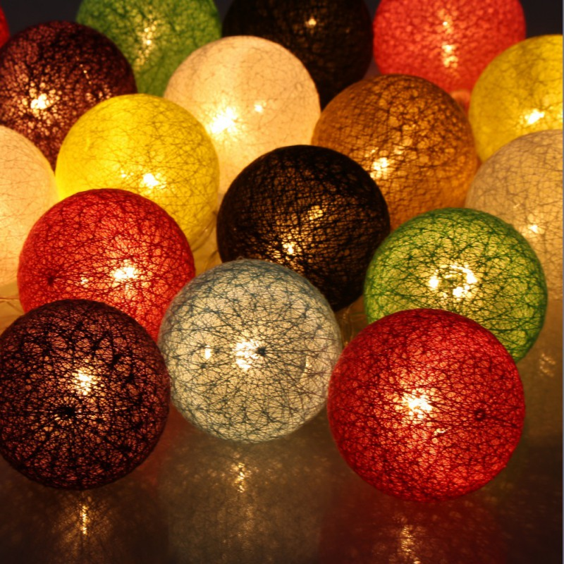 Birthday Party Festival Lighting LED Cotton Ball Decoration Pendant Lamp String 20 Light Battery Box Colorful White