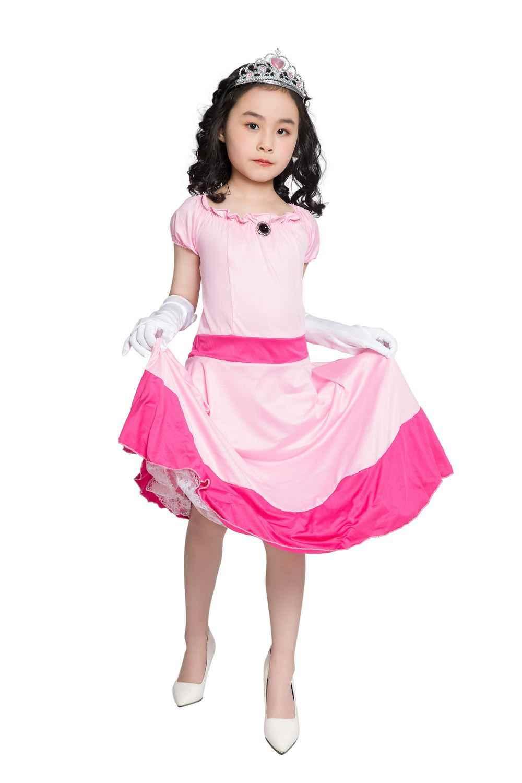 Little Princess Peach Costume Mario Brothers Princess Cosplay Classic Game Mario Costume Kids Girl Halloween Fancy Dress