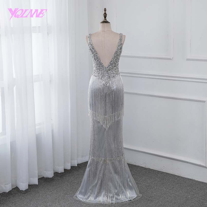 YQLNNE New 2019 Luxury Evening Dress Pageant Dresses V neck Beading