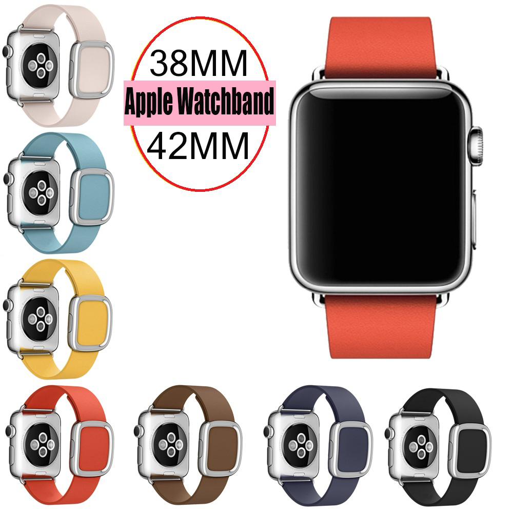 URVOI modern buckle band for apple watch wrist strap belt smooth top grain leather with magnetic
