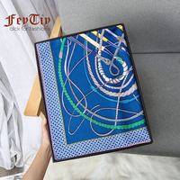 New Brand Hand Rolled Silk Scarf Blue 100 Twill Blue Square Scarves Fouets Et Badines 90x90cm