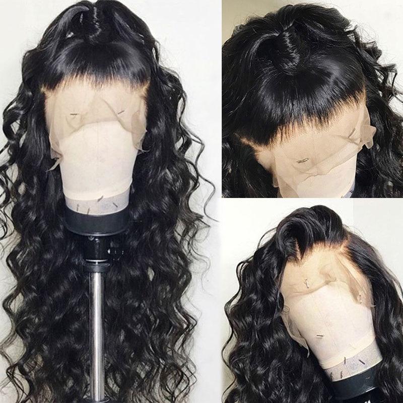 Sterly brasileiro 13x4 solto profunda perucas de cabelo remy para preto feminino laço frontal peruca pré arrancado com o cabelo do bebê