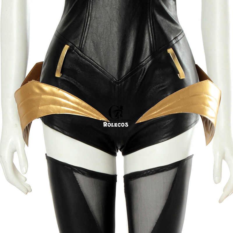 ROLECOS เกม LOL K/DA Ahri คอสเพลย์เครื่องแต่งกาย LOL KDA คอสเพลย์เครื่องแต่งกายหนังเซ็กซี่ชุดผู้หญิง Jumpsuit