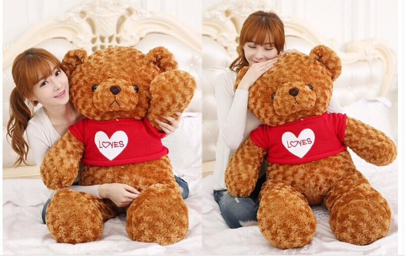 47 inch brown teddy bear plush toy red loves sweater bear doll, hugging pillow, Christmas gift w3065 new stuffed light brown squint eyes teddy bear plush 220 cm doll 86 inch toy gift wb8316