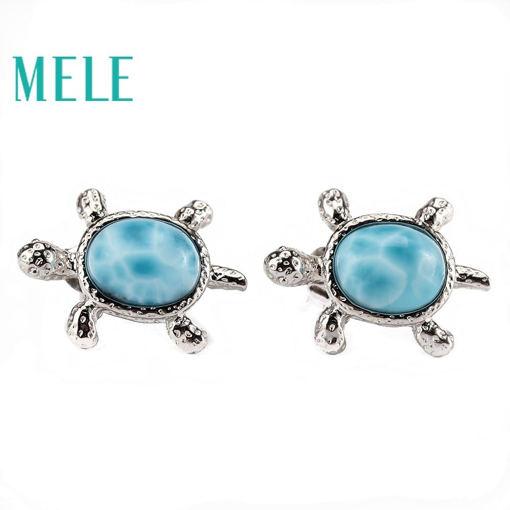 Schildkröte form nette natürliche larimar ohrringe tiefe blau mit silber 925, klassische stil schmuck für frauen und mädchen