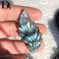 DS Natural Flash Labradorite Leaf Lovely Pendant Quartz Crystal Necklace Reiki Healing Crystal Stone Woman Jewelry Gifts