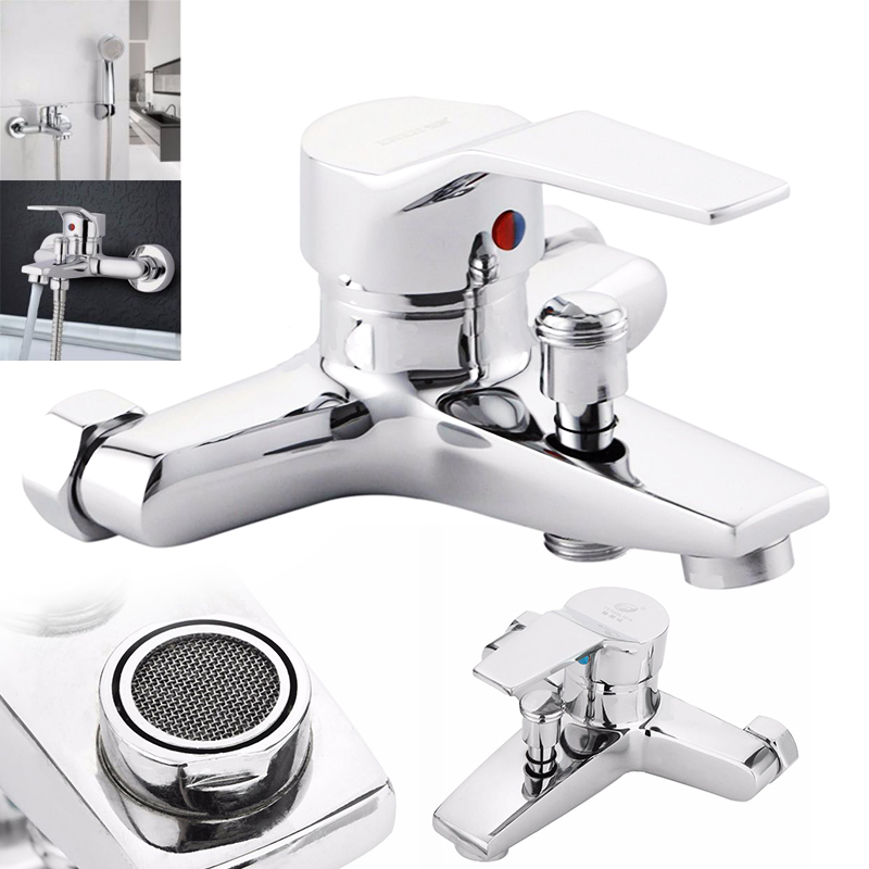 Brass Chrome Bathroom Tub Shower Faucet Cold and Hot Water Shower Tap Wall Mounted Bath Valve Mixer Tap Bathroom Faucet chrome polish wall mount bathroom sink tub faucet hot and cold water mixer tap