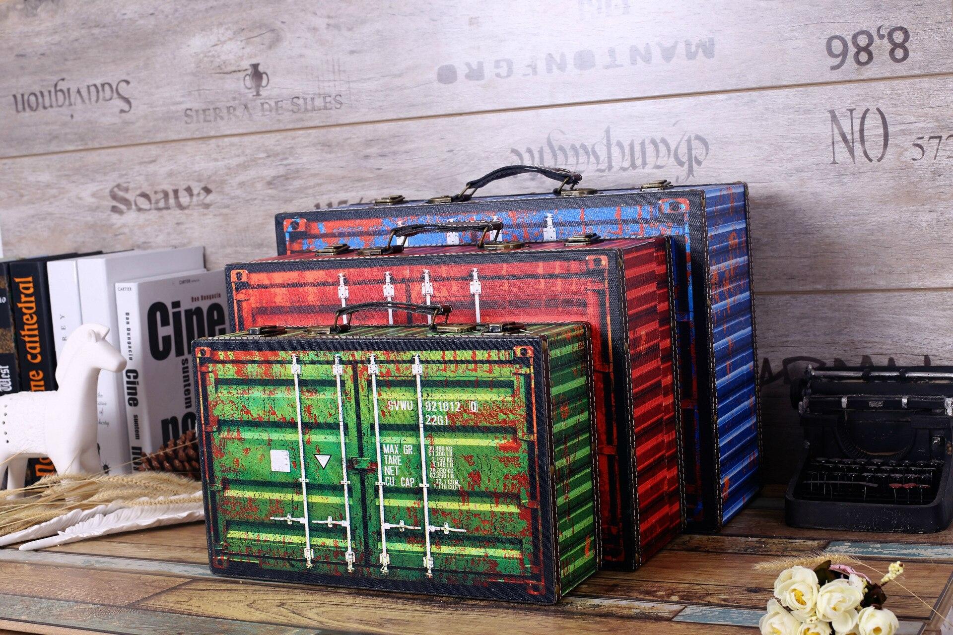 Rétro Boîte De Rangement Vintage Home Decor Shabby Chic En Bois Boîtes Bar Café Boutique Décoration Tir Props - 2