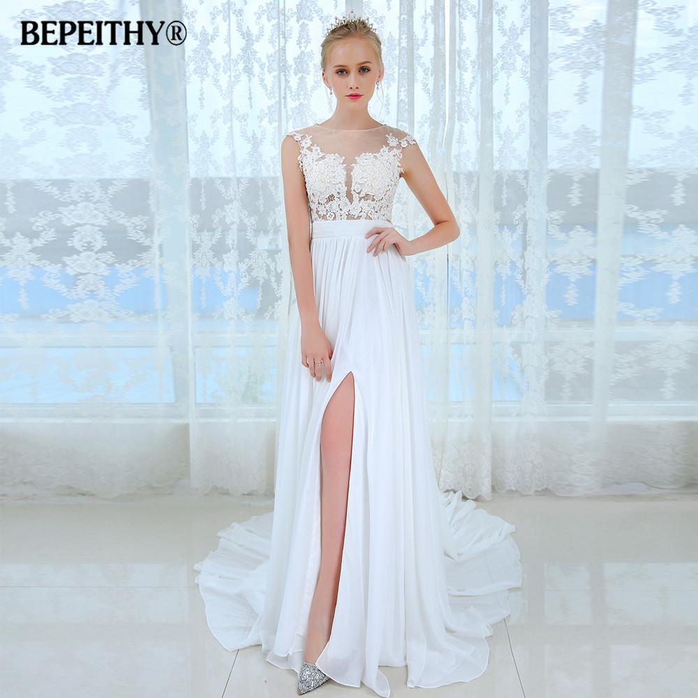 Vestido de novia short sleeves beach wedding dress 2017 for Beach chiffon wedding dress