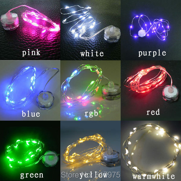 10pcs 2m20leds coin battery powered led wire string lights flower vase wedding light waterproof tiny string