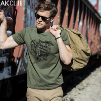 AK CLUB Men T Shirt Vintage Style Hand Painted Flying Tigers Printing Tshirt Short Sleeve T