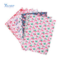 22cm*30cm Summer Flamingo Leather Sheet Synthetic PU Fabric Plants Decorative DIY Hairbows Bags DIY Materials Patchwork Fabric(China)