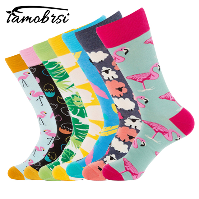 bcd8474c17f Flamingo Easter Eggs Funky Colorful Cool Socks Happy Mens Novelty Loafer  Cotton Socks Funny Socks Premium