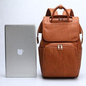 Image 4 - Bolsa de pañales para bebés de cuero PU, mochila para madres, bolsa de pañales de gran capacidad con almohadilla cambiadora + correas para cochecito, color marrón y negro
