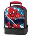 Escuela infantil Spider Man Dual Bolso Del Almuerzo Kit Box para Niños Chicos de Dibujos Animados Lunchbag Lunchbox Picnic Alimentos Bolsas Térmicas
