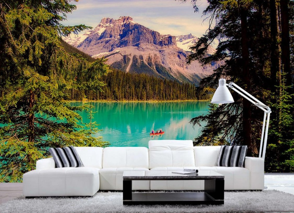 Custom 3d Mural Wallpapers Hd Landscape Mountains Lake: 3D Photo Lake And Mountains European Wall Murals Beautiful
