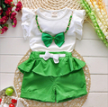2016 New Hot Sale Girl Clothing Set Top and Pants For Baby Girl Summer Wear Children Clothing 2 Pcs With Belt Baby Clothes
