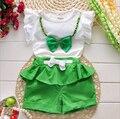 2016 nueva caliente venta ropa de la muchacha Set Top y pantalones para bebé del desgaste del verano ropa de los niños 2 unids con la correa ropa bebé