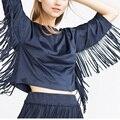 2015 Outono Mulheres Suede tassel sólidos blusas da moda de Três quartos O-pescoço camisas Europeia street wear partes superiores legal