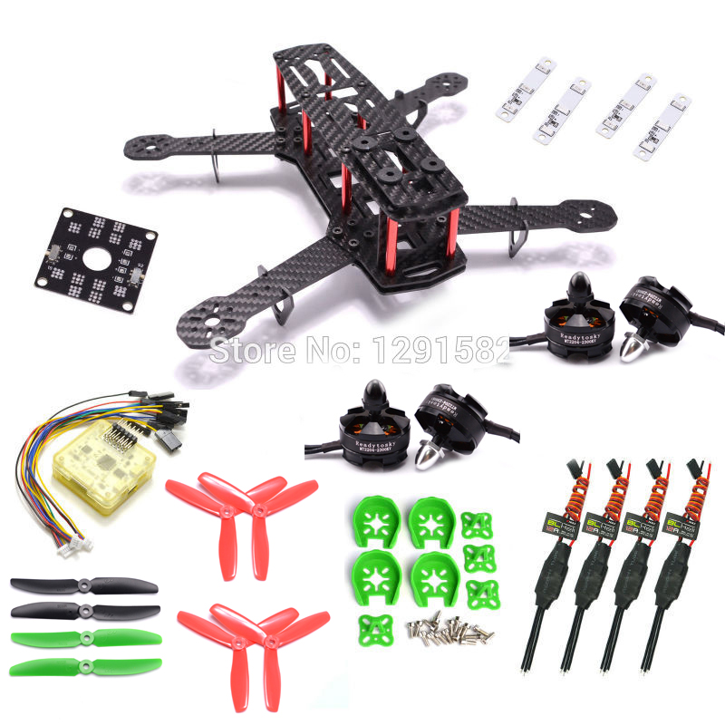 Mini 250 250mm ZMR250 Carbon Frame kit CC3D EVO 2204 2300KV 12A Blheli 5030 Prop for Quadcotper