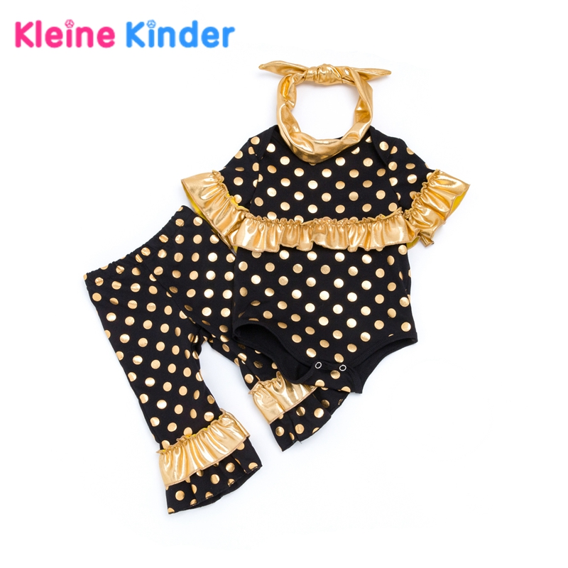3Pcs/Set Baby Girls Clothing Sets Gold Polka Dot Ruffle Bodysuit Romper + Flare Pants + Headwear Pink Infant Girl Clothes Outfit sheer mesh polka dot pants
