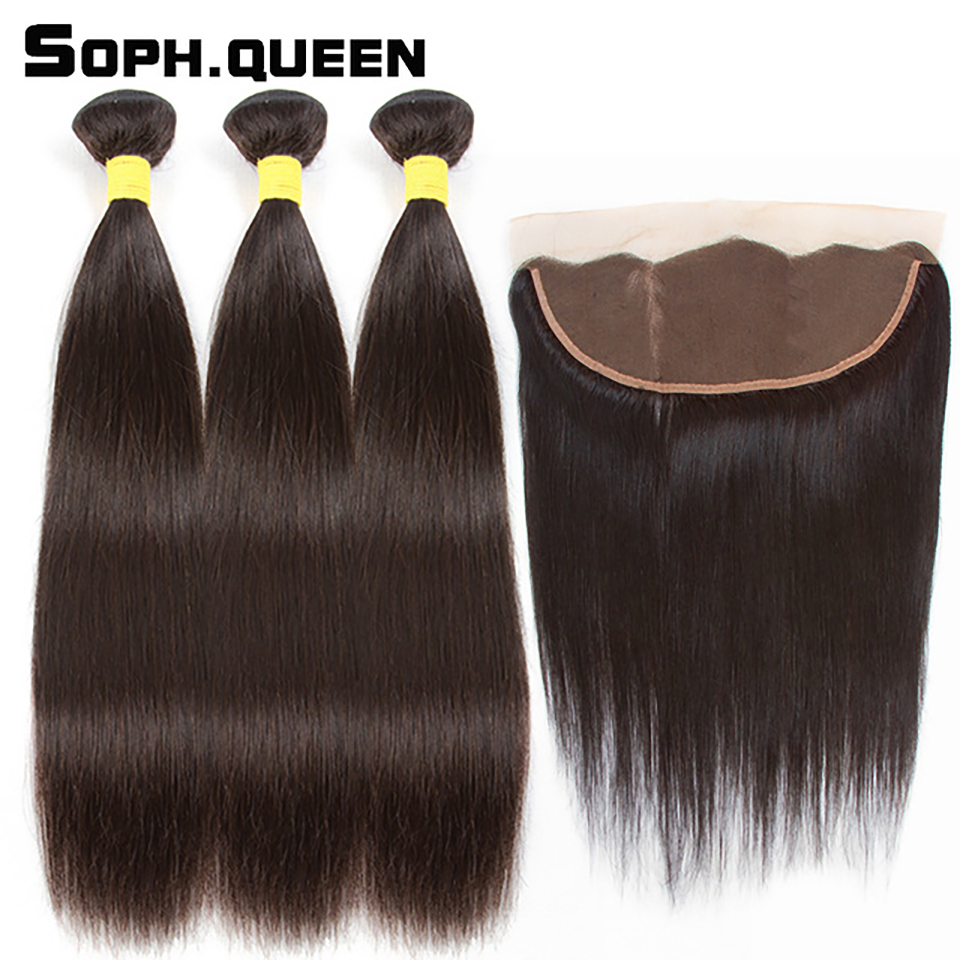 Soph Queen Brasilian Straight Wave 3 Bundler Med Closure Remy Human - Menneskelig hår (for svart)