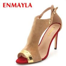 ENMAYLA Summer Suede Ladies Sandals Women Peep Toe Cover Heels High Heels Sandals Women Mixed Color Shoes Woman Plus Size 47