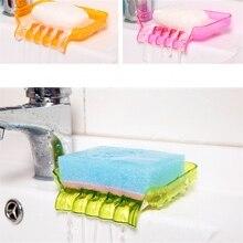 Waterfall Plastic Soap Dish Bathroom Shower Soap Dish Tray Storage Kitchen Sink Sponge Drainage Dish Holder 4 Color For Choose цена 2017