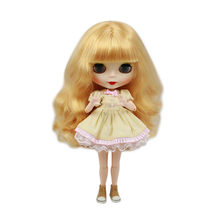 blyth joint doll factory BL3071 golden long curly hair with bangs just for 1/6 doll girl present DIYspecial offer matte face(China)