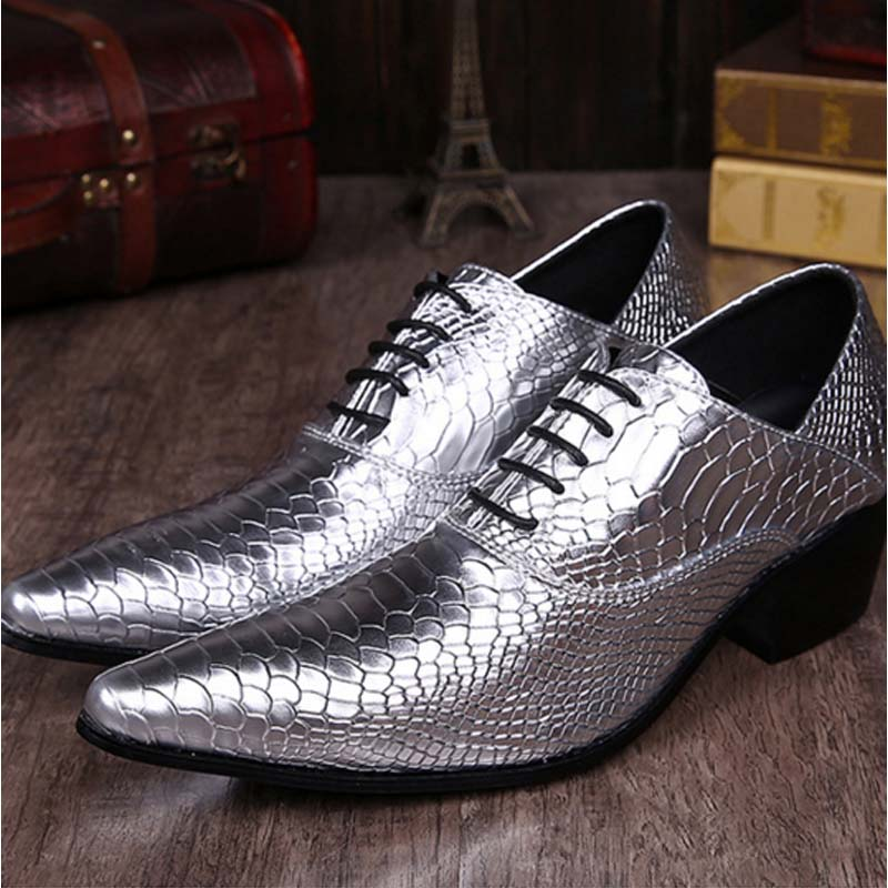 цены  Luxury Snake Pattern Pointed Toe Fashion Men Lace-up Dress Shoes Male Genuine Leather Gentleman Party Bar Nightclub High Heels