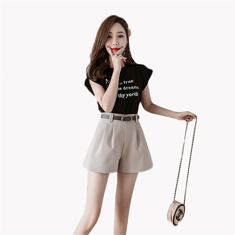 5166158056 New Hot Women Shorts Korean 2019 Summer Beach Casual Fashion Wide Leg Shorts  Slim Khaki Gray Black Women High waist shorts YH40