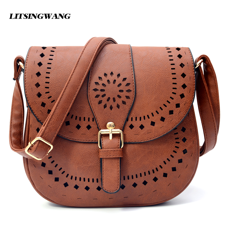 LITSINGWANG Small Casual Women Messenger Bags PU Hollow Out Crossbody Bags Ladies Shoulder Purse And Handbags Bolsas Feminina