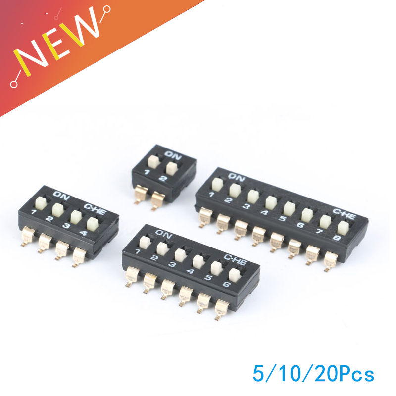 Direct Dial Code Switch Dip Switch 2 Row 4 Pin 2 Position 16 Pin 8 Position 5/10/20pcs Easy And Simple To Handle 8 Pin 4 Position /12 Pin 6 Position