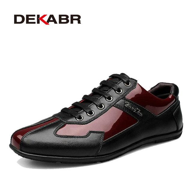 DEKABR Alta Calidad Otoño Invierno del Cuero Genuino de Los Hombres Zapatos de Moda Zapatos de Los Hombres Zapatos Casuales de Encaje Hasta Pisos Zapatos Hombre Sapatos