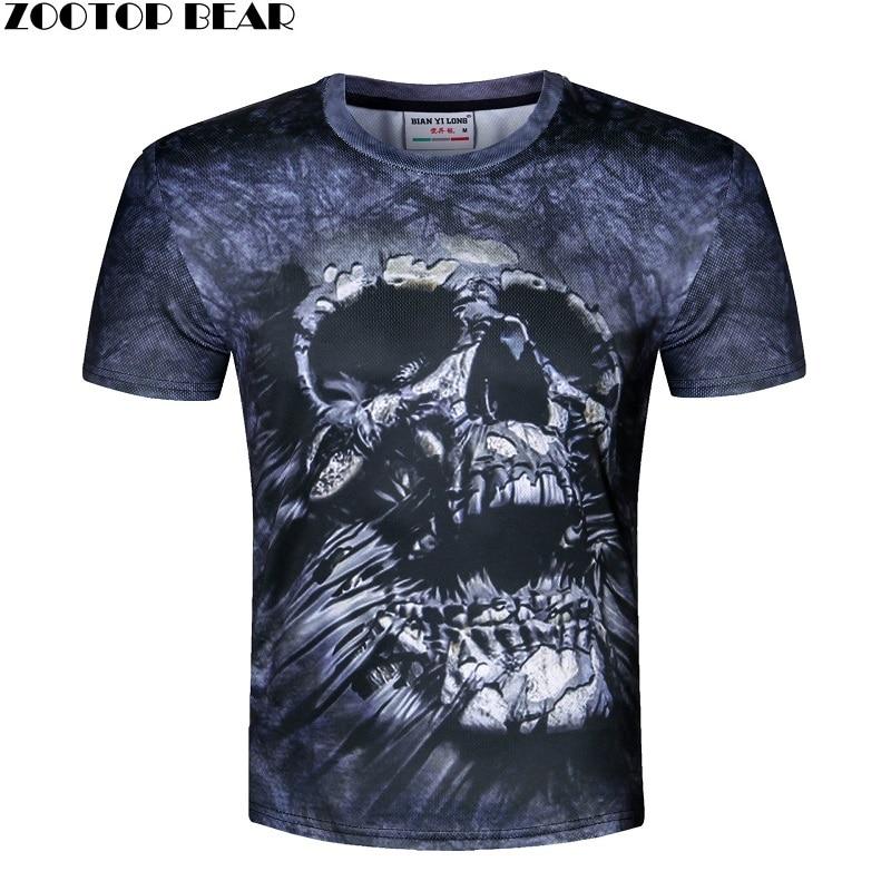 Skull Print T shirt Men 3D shirt Funny T shirt american flag/lion/skull Casual shirt Plus Size Top Male Tee Summer ZOOTOP BEAR