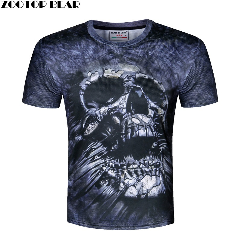 Skull Print T shirt Men 3D shirt Funny T shirt american flag/lion/skull Casual shirt Plus Size Top Male Tee Summer ZOOTOP BEAR
