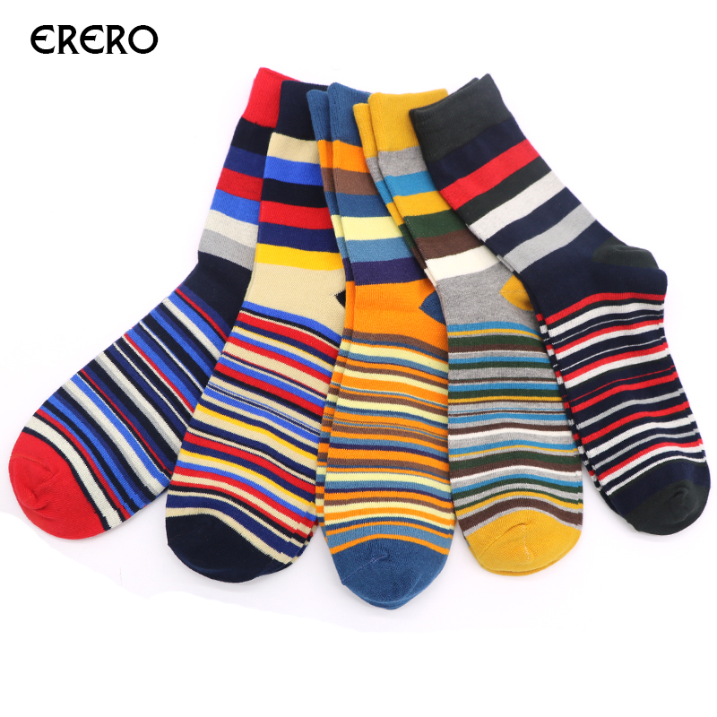 efero 1pair Mens Socks Chaussette Striped Print Male Long Socks Funny Novelty Warm Male Business Socks Meias Calcetines Hombre