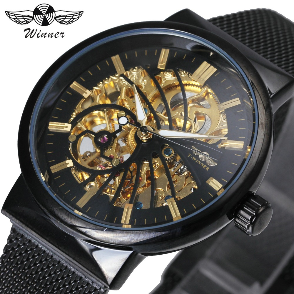WINNER Urban Modern Ultra Thin Black Men Auto Mechanical Clock Skeleton Dial Bird Pattern Mesh Strap Fashion T-WINNER Watch t winner automatic watch mens trendy mechanical auto windding silicone band wristwatches modern elegant analog hollow clock gift