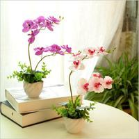 Sıcak satış ücretsiz kargo phalaenopsis yaprakları ile yapay orkide gerçek dokunmatik çiçek aranjman diy ile düzenlemek çiçek vazo