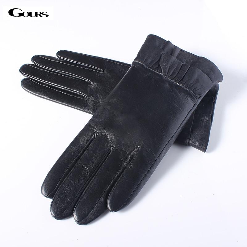 Gours podzim a zima Dámské kožené rukavice dámské černé módní kozí kožené prstové rukavice Teplý nový příjezd GSL060