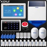 KERUI 7 дюймов TFT Цвет Дисплей аварийная сигнализация wifi GSM домашняя сигнализация безопасности комплект Беспроводной клавиатуры Rfid пульт дист