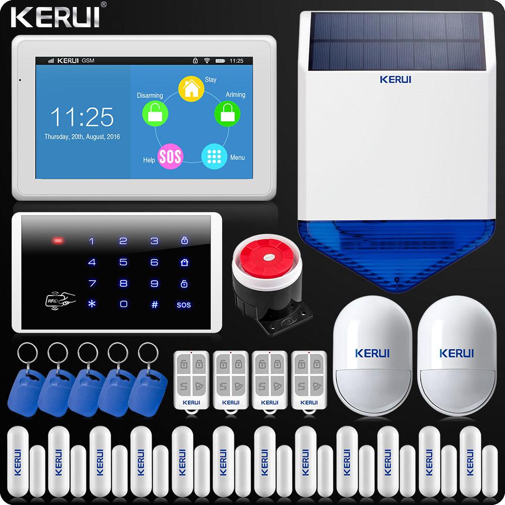 KERUI 7 pouces TFT couleur affichage WIFI GSM système d'alarme maison alarme kit de sécurité clavier sans fil Rfid télécommande sirène solaire