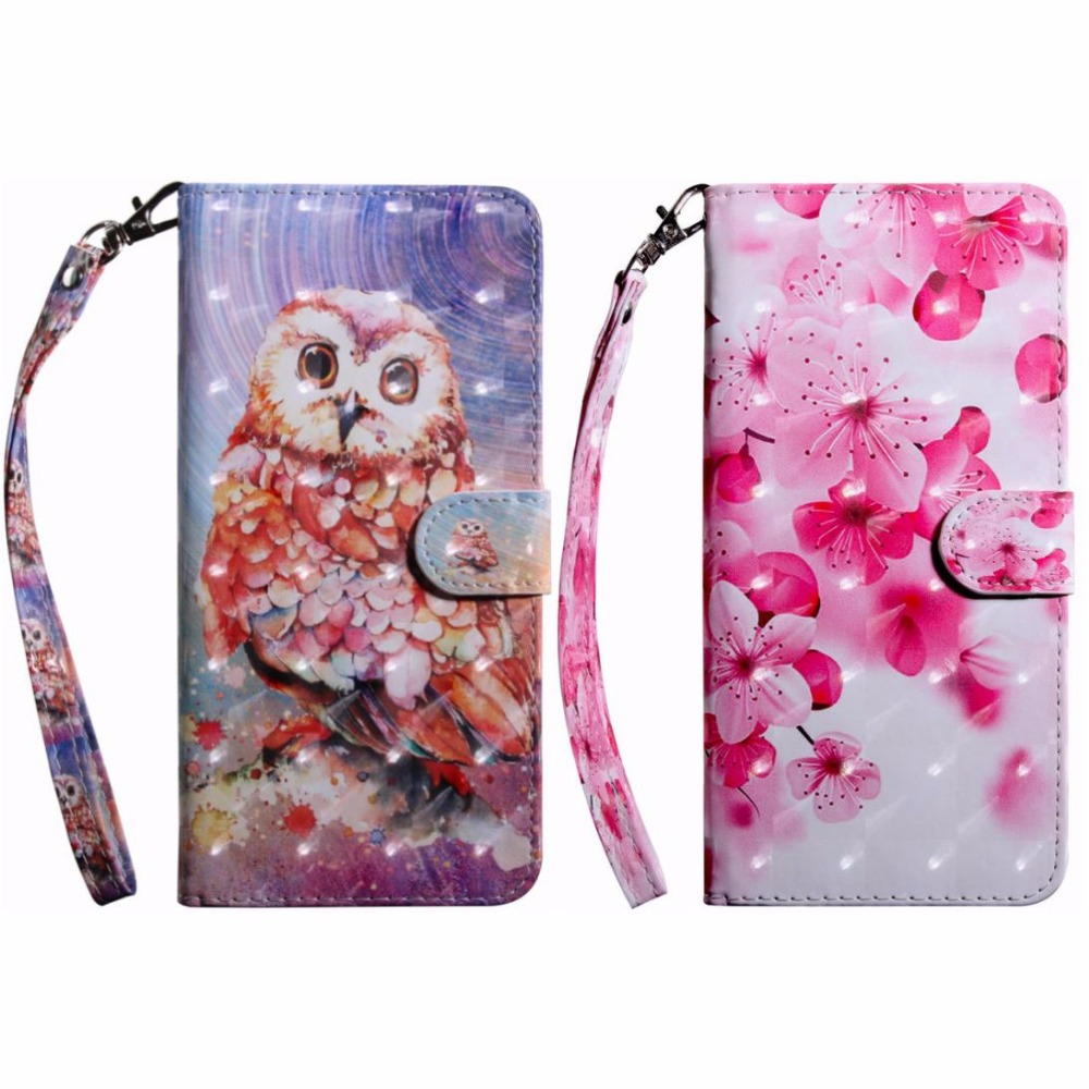 Flower Owl Stand Case Leather For Xiaomi 5X 6X A1 A2 Max 2 Poco F1 Card Slot Luxury Photo Wallet Smartphone Covers Fundas DP29Z in Flip Cases from Cellphones Telecommunications