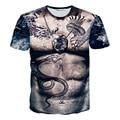 Verano novidade T - camisa de tatuagem Muscle Man imprimir casual manga corta camiseta para hombre