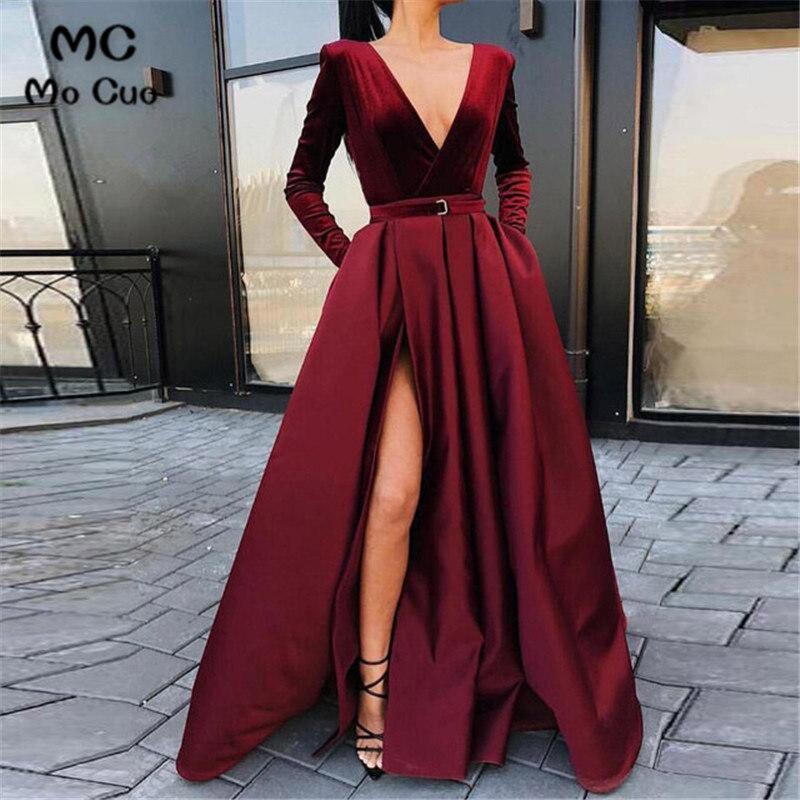 In Stock 2019 Ready Ship Burgundy Evening Dresses Long Robe De Soiree Front Split Long Sleeve Evening Party Dresses Custom Made