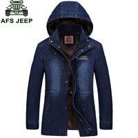 2017 Yeni Varış Marka Giyim Erkekler Denim Ceket M ~ 3XL Palto Slim Fit Casual Ceket Palto GIYSI Uzun Kollu kapüşonlu Moda