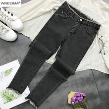 Korean Fashion 2019 Spring Denim Pants Solid Color Pockets Zipper Up Skinny Long Jeans Casual Street Style Ladies Jeans Z916(China)